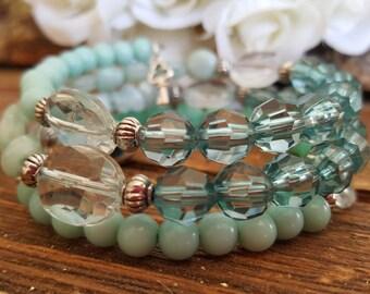 Bracelet, memory wire, green.