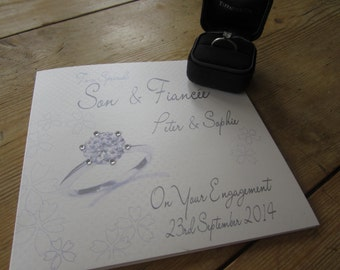 Personalised Son & Fiancée Engagement Card - Engagement Ring Design PPS75A
