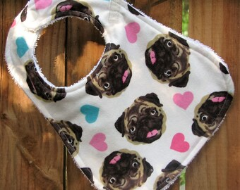 Bib - Baby Bib - Love My Pug - Dog Baby Bib - Gender Neutral Bib - Handmade Bib