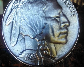 Vintage 1926 Indian Head Nickel Belt Buckle by the Great American Buckle Co Made in USA Limited Edition with Leather Belt