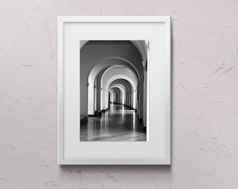 Architecture, digital photo black and white, arches corridor, for wall decoration instant download poster, gift card