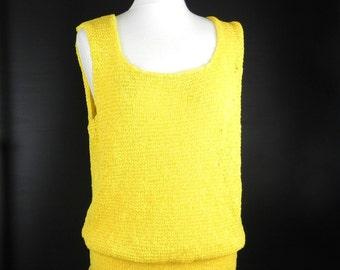 KNIT TOP TOP trendy tank top * cotton * Ribbon yarn *.