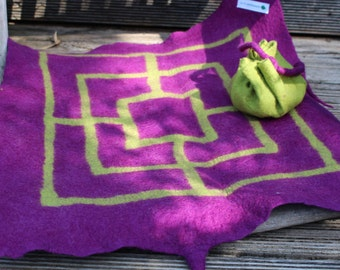 "felted seat cushion with game, ""pillow to go"" with game"