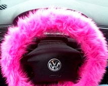 Hot Pink Fuzzy Steering Wheel Cover, Car accesories, Fuzzy Car Accessories, Red, Pink or Yellow Fuzzy Wheel Cover