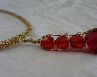 Gold and Red Viking Knit Necklace and Pendant
