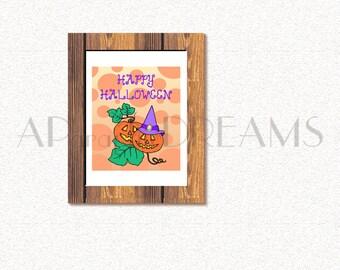 Printable Halloween pumpkins poster, Halloween Wall Art, Printable Halloween poster. Thanksgiving Halloween Art Print