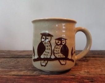 Vintage ceramic stoneware owl coffee/tea mug
