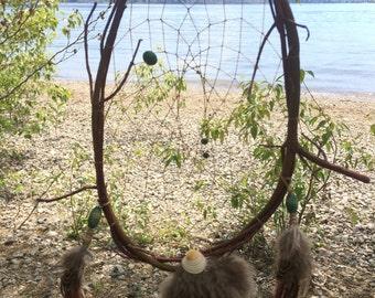 Natural dream catcher with malachite