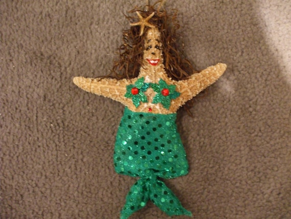 Christmas Mermaid Starfish Ornament Tree Topper Seaside