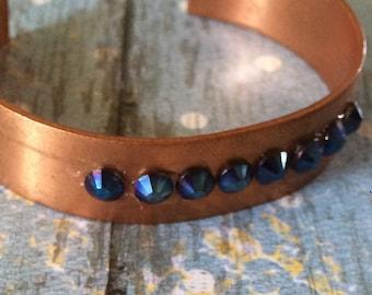 Cuff bracelet, copper beacelet, blue bracelet, metallic blue,