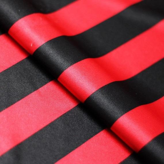 Black Red Striped Shiny Polyester Spandex Lycra Fabric