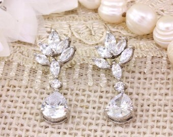 Bridal Bridesmaids Wedding Jewelry Earrings, Cubic Zirconia Chandelier Sliver Wedding Earrings, Bridal Dangling Earrings, Valentines Gift