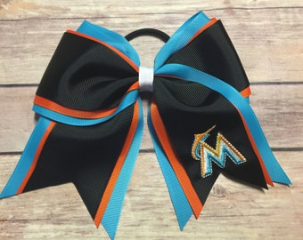 Miami Marlins Embroidered Cheer Bow