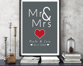 DIN A3 of personalised art print, anniversary wedding day mural ' Mr & Mrs' print