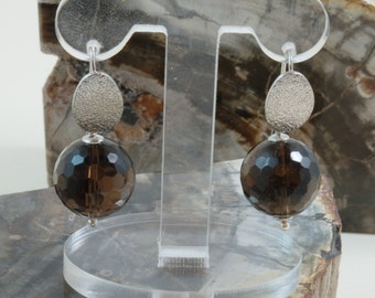 Smoky quartz drop earrings in Sterling Silver Made in Italy