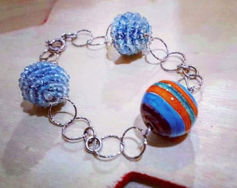 Bracelet in silver and handmade ceramics, one size. Available for immediate delivery