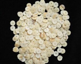 African Snail Shell Flat/Disc Heishi Beads