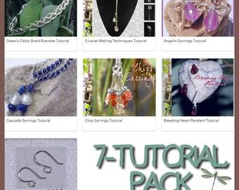 Pack of 7 Jewelry Tutorials Earrings Pendant Necklace Wirework Gemstone