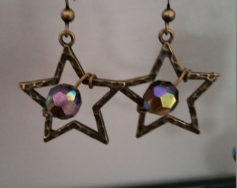 Copper Star dangle earring with crystal stone