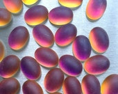 18X13mm Oval Pink/Orange Multi Glass Cabochon with Flat Back and Low Dome - Sold as Pair (2)