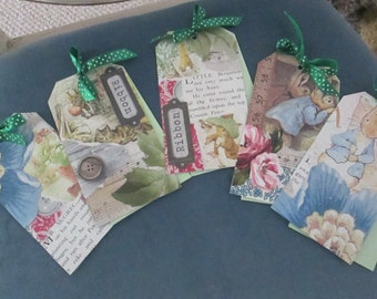 Peter Rabbit/Benjamin Bunny vintage style gift tags x 5