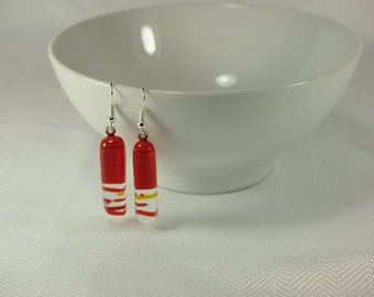 Fused Glass Earrings - Red, Clear and Yellow