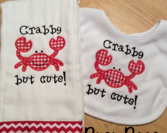 Crabby But Cute Burp Cloth and Bib Set
