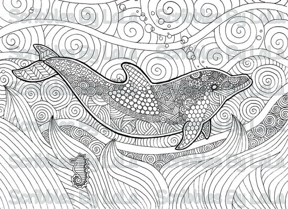 printable adult coloring page dolphin high quality pdf instant download - Coloring Pages Dolphins Printable