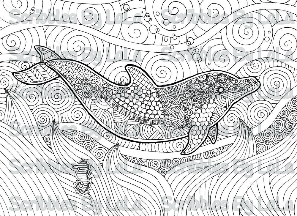 Printable Adult Coloring Page Dolphin High Quality PDF