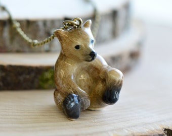Hand Painted Porcelain Brown Bear Necklace, Antique Bronze Chain, Vintage Style Bear Cub, Ceramic Animal Pendant & Chain (CA216)