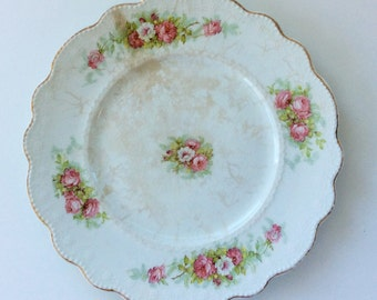 Antique White Plate with Roses and Scalloped Gilt Edge
