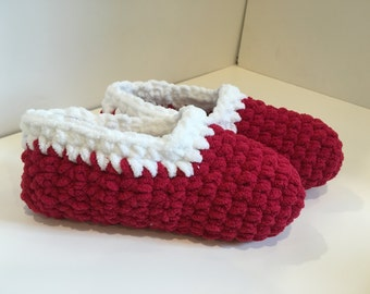 Red and White Crochet Slippers
