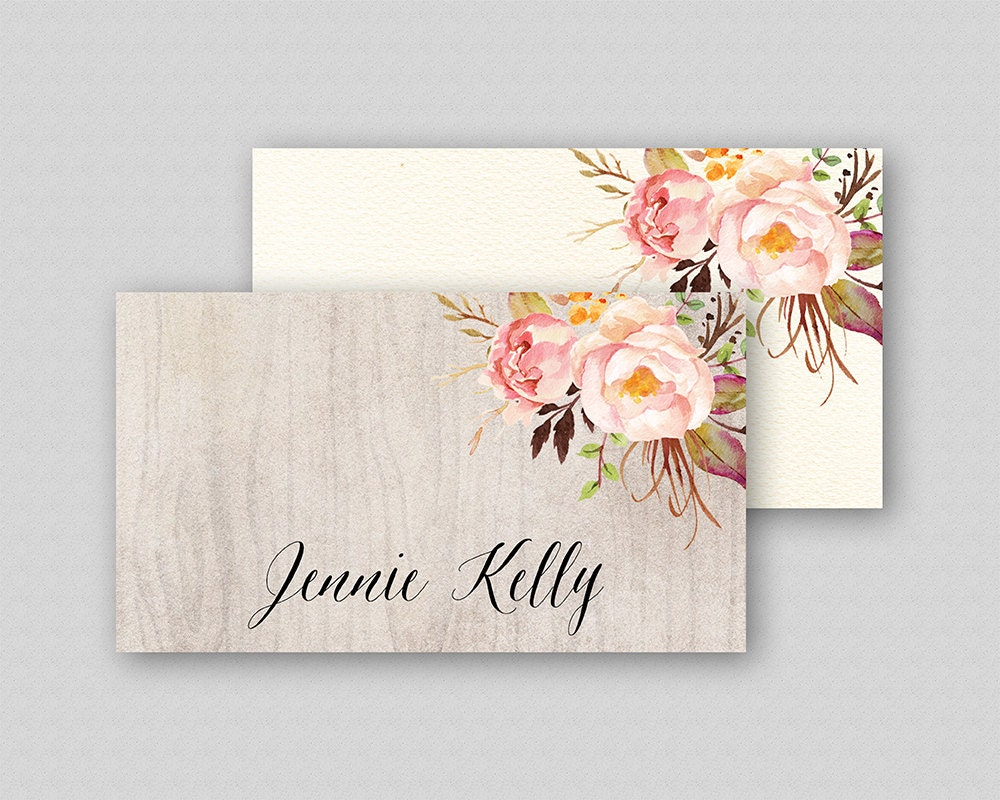 Printable Wedding Place Cards Template Floral Place Cards
