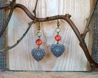 Heart and Button Earrings