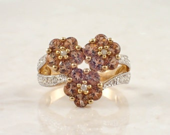 10K Yellow Gold Tourmaline and Diamond Ring