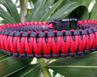 Thin Red Line Paracord Dog Collar, Firefighter Paracord Dog Collar, Fire Fighter Dog Collar, Firefighter, Paracord Dog Collar, Dog Collar