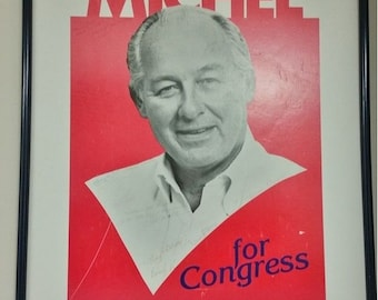 Vintage Signed Robert H Michel Republican Political Campaign Poster Illinois