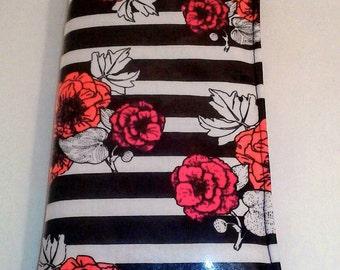 Custom waiter/waitress wallet/organizer stripes with flowers