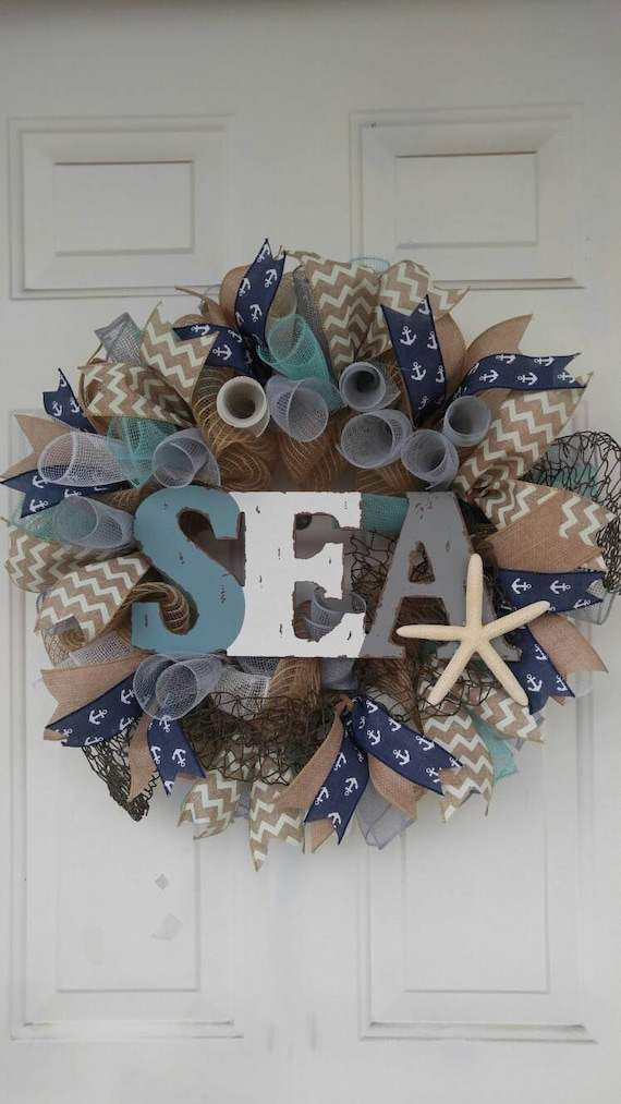 Do It Yourself Home Design: Beach Theme Mesh Door Wreath Ocean Theme Wreath Nautical