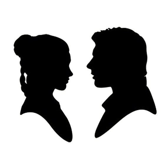 Han Solo And Princess Leia Stencil Made From 4 Ply Mat Board