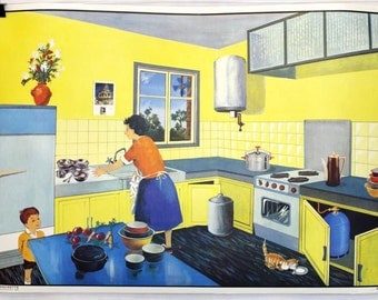 "Double sided school poster, ""The Street"" and ""The Kitchen"" Oge-Hachette Editions, illustrations from G.Bonmati and G.Michel"