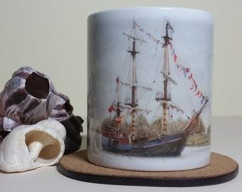 Ship Mug-Boat Mug-Vintage Sailing Ship Sailing Mug-Sailing Lovers Gift-Permanent Dyed Image,Zoe Lawrence Art-OwlAndThePaintersCat Art Mug
