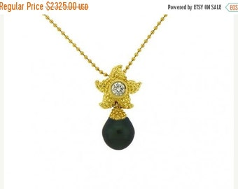 ON SALE 18K Yellow Gold Starfish Diamond Necklace with Tahitian Pearl Drop