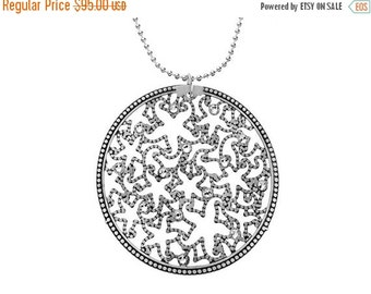 SALE Alhambra Necklace with Swarovski Crystal in Oxidized Sterling Silver