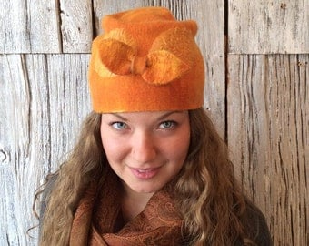 Tangerine Skies - nuno felted hat, felt hat, wet felted hat, orange hat, orange cloche, cloche, felt hat for women, felt bow