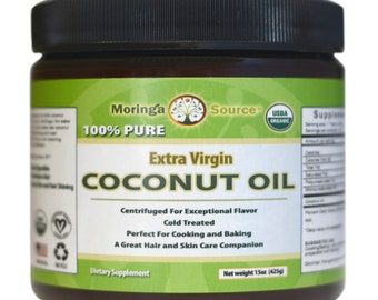100% USDA Organic Extra Virgin Coconut Oil - Centrifuged - Pure - Cold Treated - 15 oz.