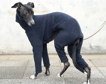 Italian Greyhound Clothing, Fleece Jammies, Jumpsuit, Romper, Onesie [Dark Navy]
