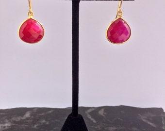 Pink Ruby Drop Earrings