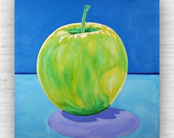 Apple Painting Print Canvas Art from Green Apple Fine Art Canvas Painting - Green Apple Art Print