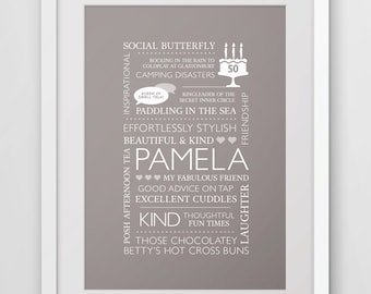 Personalised Birthday Gift - Gift for Friend, Mum, Nana - Personalised Word Art - 30th, 40th, 50th, 60th, 70th  Birthday gift,